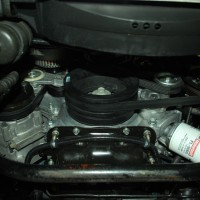 This pictures shows the entire kit installed on a Coyote engine. This is in an 98 GT