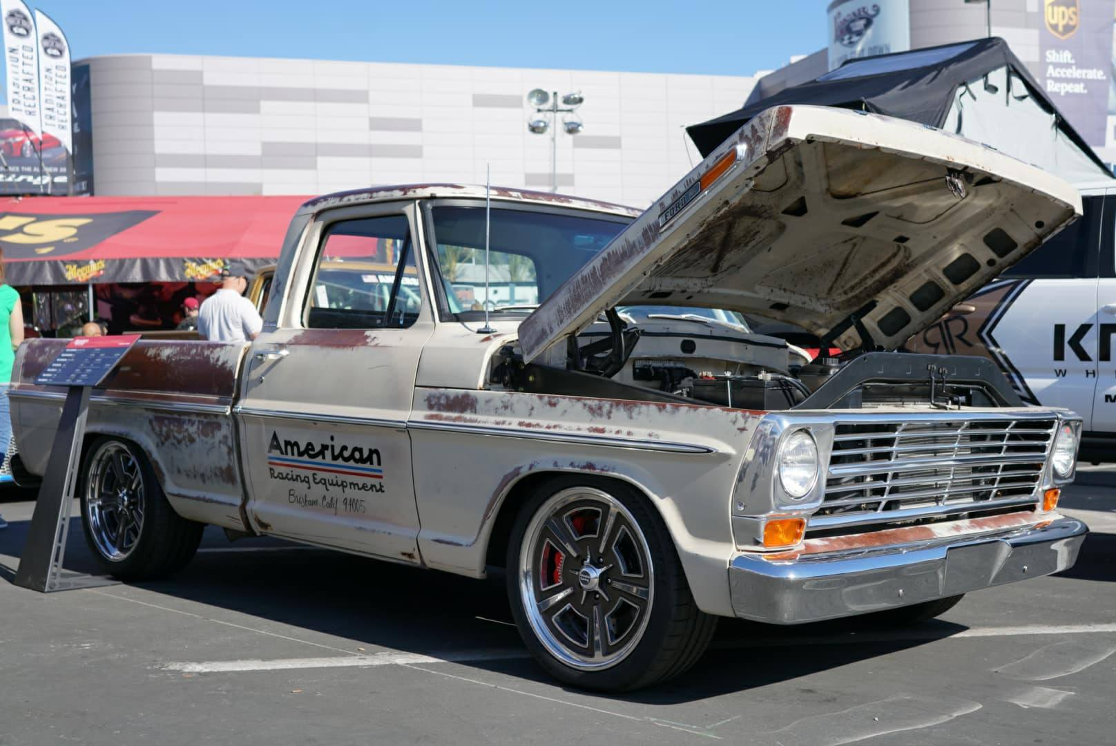 Coyote powered ford f100 for sema 2017 power by the hour for Kc paint shop